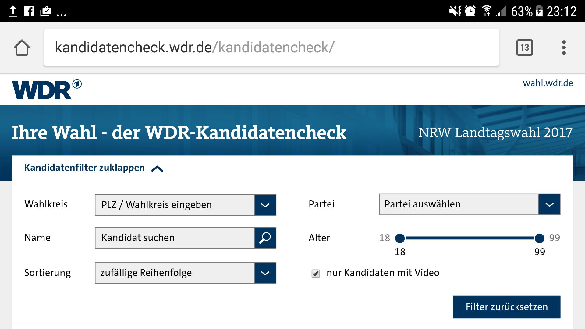 Screenshot des WDR-Kandidatenchecks