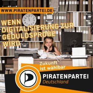 Wenn Digitalisierung zur Geduldsprobe wird. Zukunft ist wählbar. Piratenpartei Deutschland  Bild: Mädchen in trostlosem Büro vor einem Computer mit einem alten Wählscheibentelefon und einem Nadeldrucker