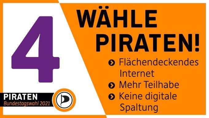 Noch 4 Tage bis zur Bundestagswahl. Wähle PIRATEN! Flächendeckendes Internet. Mehr Teilhabe. Keine digitale Spaltung.