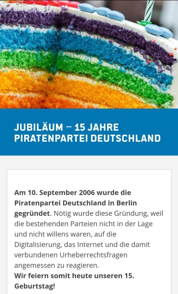 Screenshot von Jubiläum - 15 Jahre Piratenpartei bei piraten.berlin