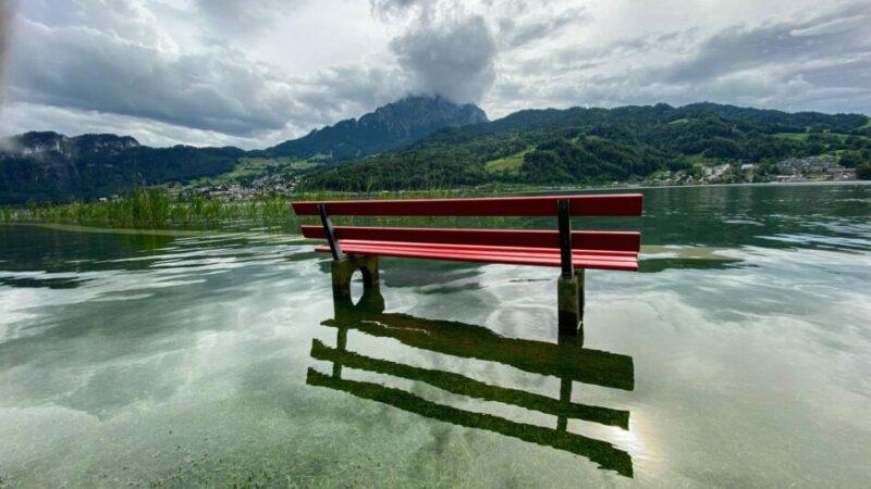 Bank in einer überfluteten Landschaft